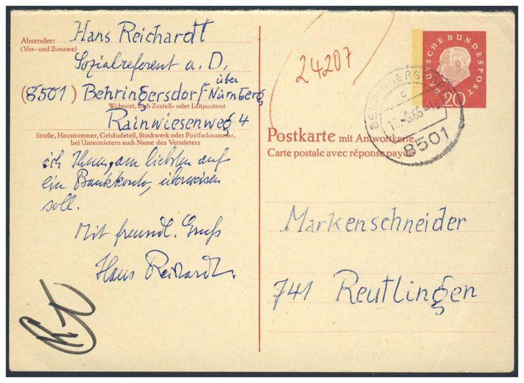 Germany, Bundesrepublik 1961, Heuss III, 20 Pfg.-GA-Antwortkarte, Postfachnummer + Fluoreszenz, als Bestellung an die Firma Marken-Schneider in Reutlingen, Bedarfsbeleg, selten (Mi.-Nr.P 58 F/Mi.EUR 900,--). Price Estimate (8/2016): 300 EUR.