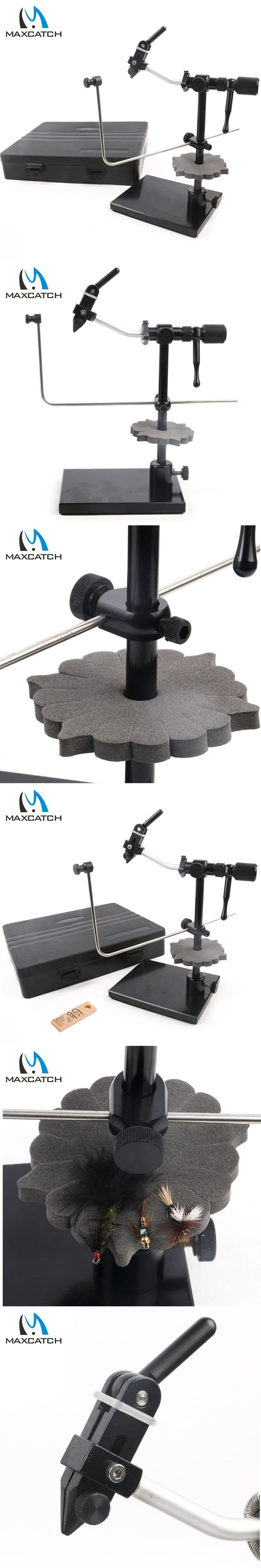 Maxcatch New Iron Rotary Fly Tying Vise With Heavy Duty Base Fly Hook Tool with Hackle Gauge