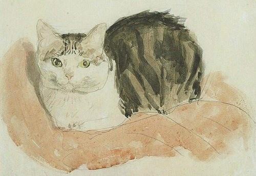 Gwen John (British painter, 1876-1939) Wide-Awake Tortoiseshell Cat