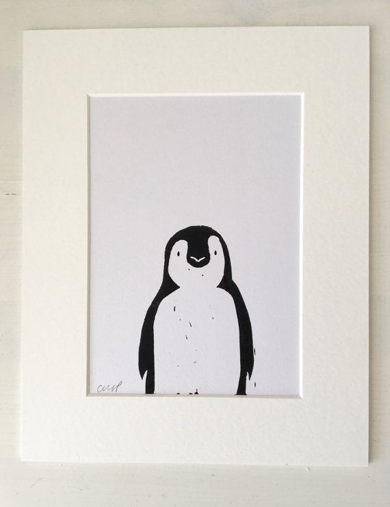Linocut Print - Penguin Print - Birthday Gift - Wedding Gift - Home Decor - Penguin Picture - Print - framed print - Penguin - nursery