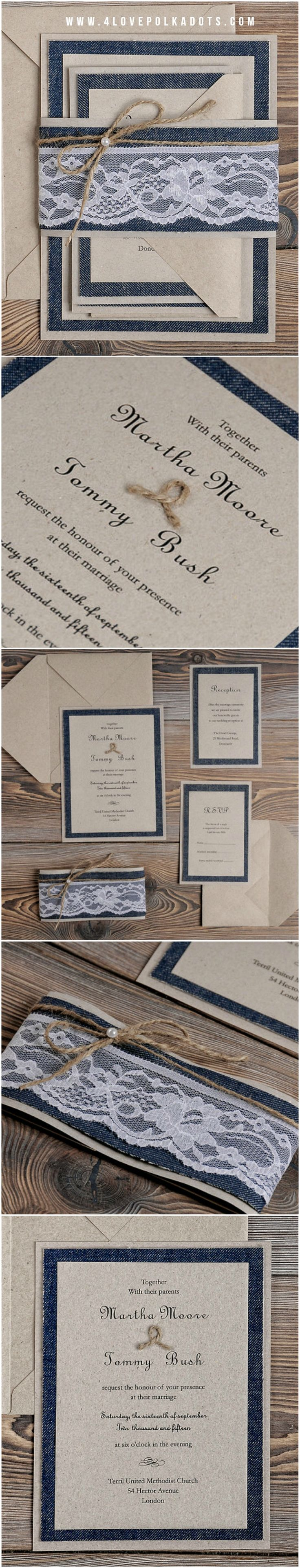 how to word evening wedding reception invitations%0A Jeans  u     Lace Wedding Invitation  eco kraft paper  lace and twine