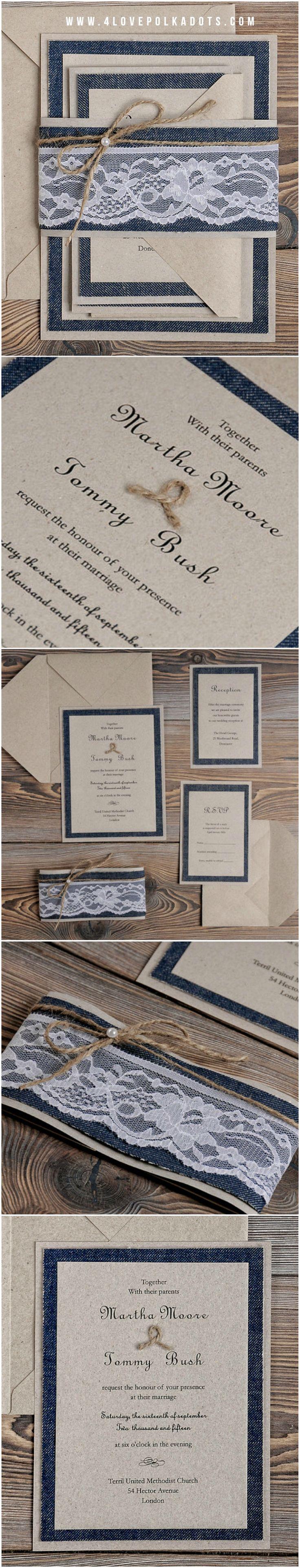 deer hunter wedding invitations%0A Jeans  u     Lace Wedding Invitation  eco kraft paper  lace and twine  jeans