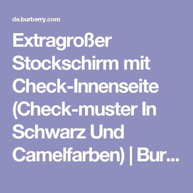 Extragroßer Stockschirm mit Check-Innenseite (Check-muster In Schwarz Und Camelfarben) | Burberry