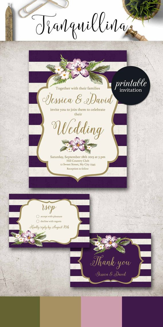 Purple And Gold Wedding Invitation Printable, Wedding Invitation Suite,  Floral Wedding Invitation, Stripes Spring Summer Wedding Invite