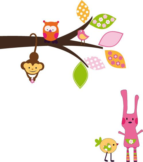 branch with bunny wall decal