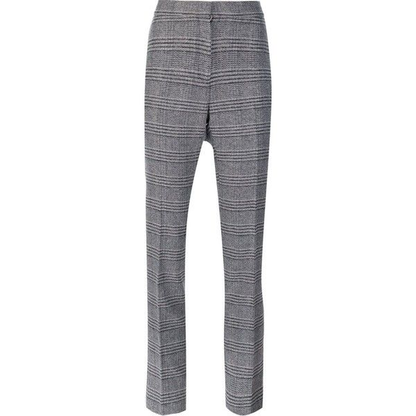 Carolina Herrera cigarette trousers (€980) ❤ liked on Polyvore featuring pants, black, patterned pants, high rise pants, cigarette pants, checked trousers and high waisted cigarette trousers