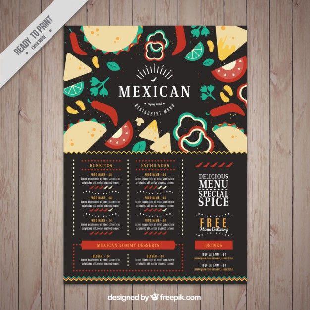Menú oscuro de restaurante mexicano con comida en diseño plano Vector Gratis