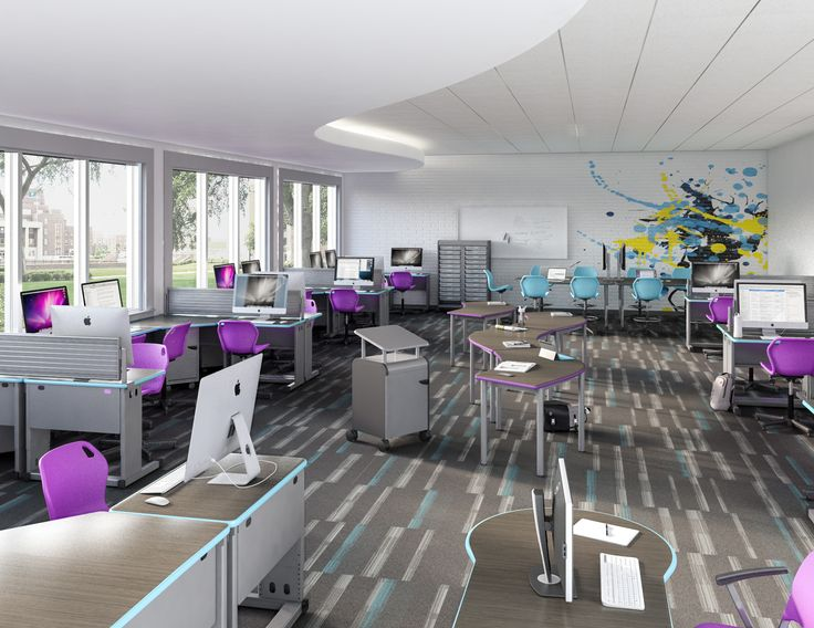 Create a space where students want to be. Tech Lab Featuring Smith System Acrobat, UXL Crescent Desks and Intuit Seating. #smithsystem