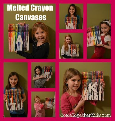 Melted Crayon Canvas. Great for sogns for kids' names or shapes!