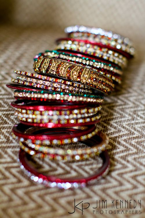 Tons of bangles definitely bring India to your wedding