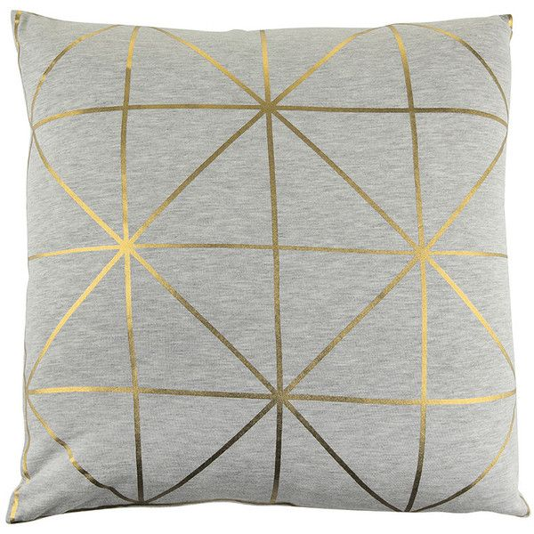 Bloomingville Diagonal Print Cushion Gold Found On Polyvore