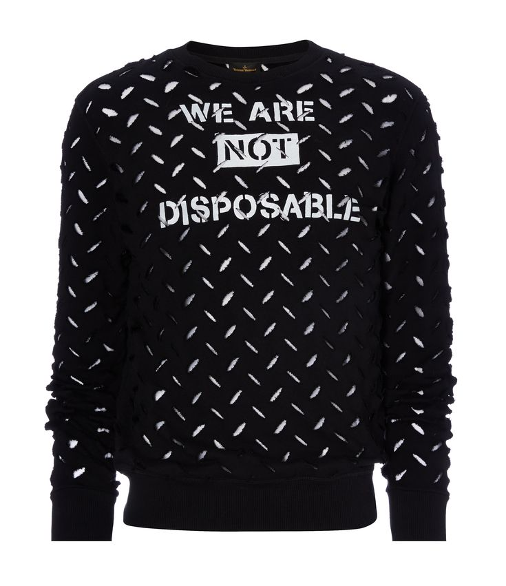 VIVIENNE WESTWOOD Black We Are Not Disposable Sweater. #viviennewestwood #cloth #
