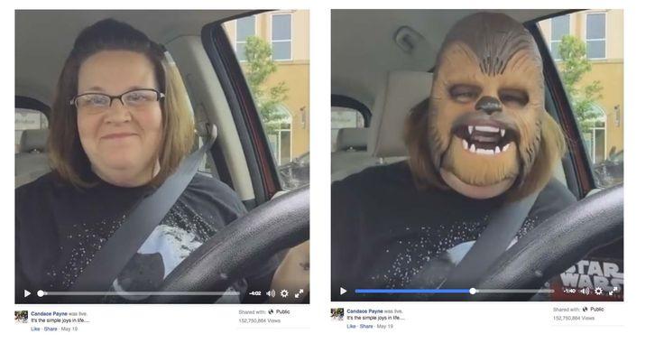 ¿Alguien ya probó #FacebookLive? El potencial de atraer visualizaciones es tan grande como esta mujer en su auto con mascara de Chewbacca y sus 153 Millones de vistas.