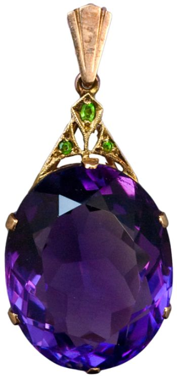 Art Deco Siberian Amethyst Pendant c. 1930. An Art Deco Siberian Amethyst, Demantoid Garnet and Rose Gold Pendant. The pendant features an oval cut large Siberian amethyst with an approximate weight of 30,5 carats. The Art Deco gold mount is set with...