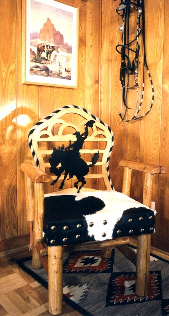 material with bucking horse | When I designed this bucking bronco chair (above) I added half circles ...