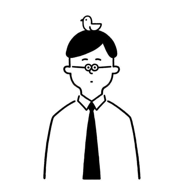 Bird is healing. サラリーマンに癒しを #man #officeworker #bird #seijimatsumoto #松本誠次 #art #artwork #draw #graphic #design #illustration #イラスト #サラリーマン #鳥 #癒し