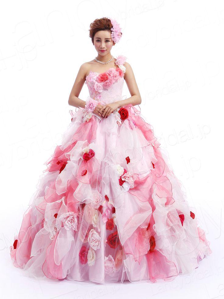 カラードレス ピンク レース チュール オーガンジー ワンショルダー レースアップ  プリンセスドレス お色直し 花嫁ドレス JP0043