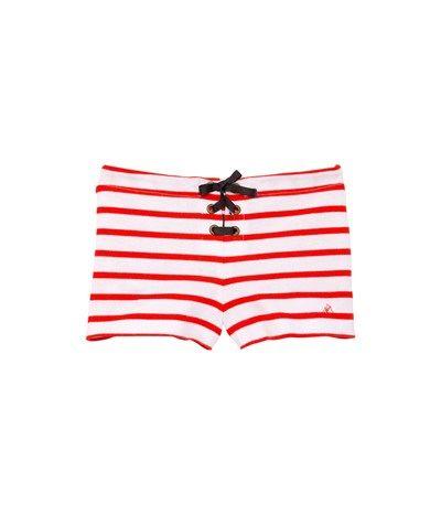 Meisjesshort in zware jersey met marinestrepen wit Ecume / rood Brulant - Petit Bateau