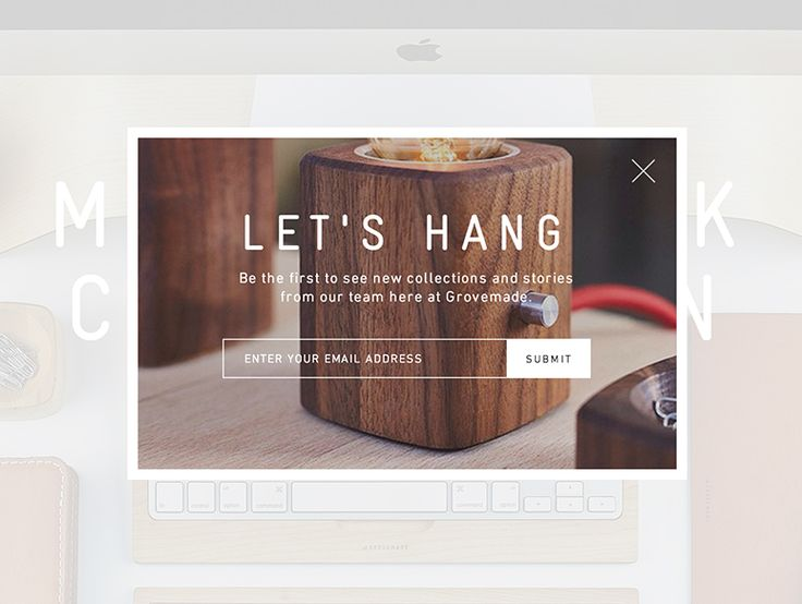 Grovemade's email subscription popup adds a tough of personality with smart copy and visually enticing design