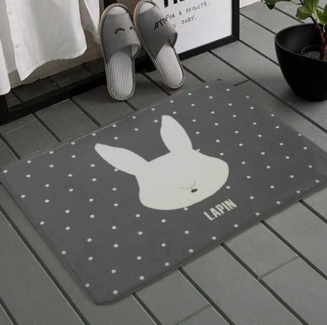 Simple Polyester Mat 40x60cm Cartoon Printed Thick Soft Living Room Bedroom Floor Rug Anti-Slip Bathroom Mats Home Textile