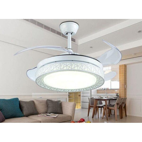 42 Lance 4 Blade Led Smart Retractable Blades Ceiling Fan With Remote Control And Light Kit Included Ceiling Fan With Remote Ceiling Fan With Light Dimmable Led Lights