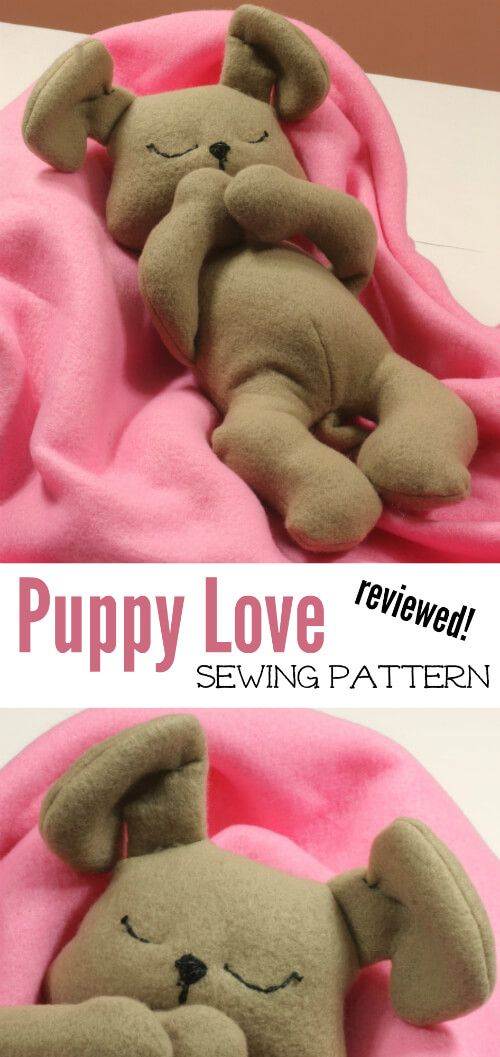 Plushie Puppy Pattern. A review of this adorable plush dog sewing pattern