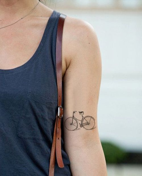 Adorable Bicycle Temporary Tattoo Design For Girls