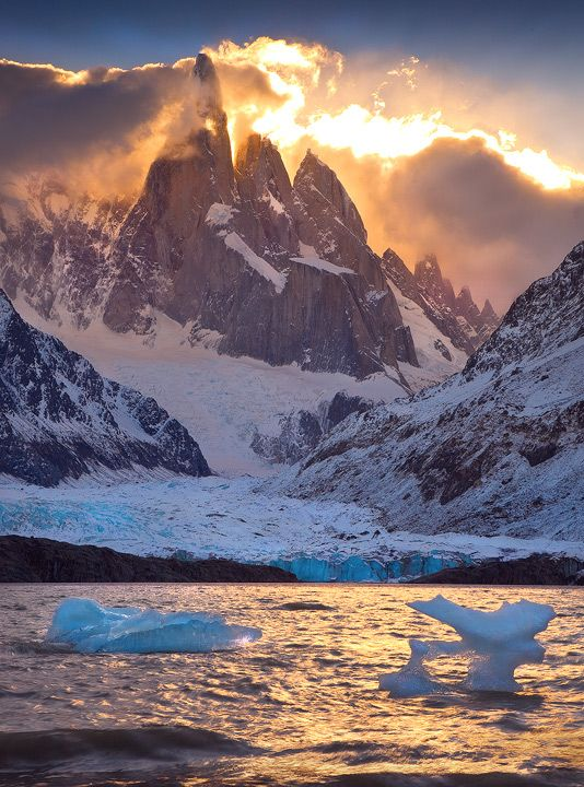 """""""Fire and Ice"""" By: Michael Anderson    (icebergs of Laguna Torre, Patagonia)"""