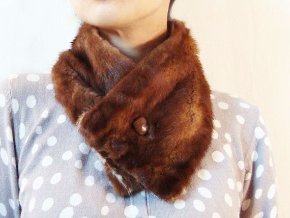 Brown Mink Fur Scarflette with Vintage French Leather Button, Repurposed Vintage