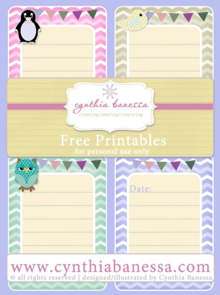 FREE and adorable animal journaling cards