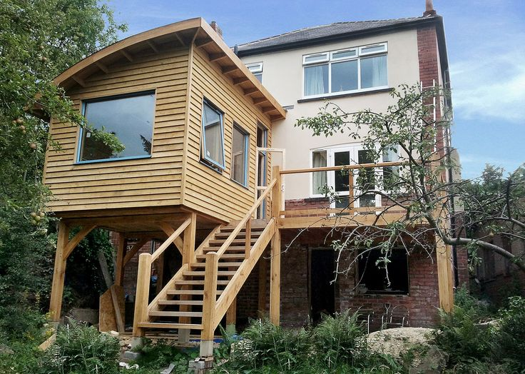 Eco extension supported on a green oak timber frame with oak staircase and glass balustrades. With Sheffield being a hilly city, our raised extensions are a great option for extending your house while making the most of  your valuable garden space. If your thinking about having an extension and whether you have a firm vision in mind or need some help to develop your ideas, our creative team can work with you make it a reality. We are here to guide you through the whole process from planning…