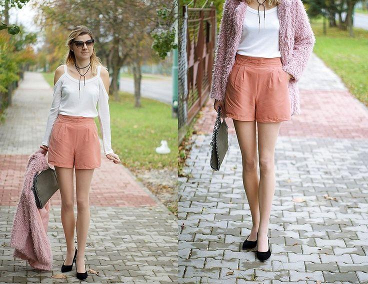Kamila Z - Romwe Top, Sheinside Coat, Sheinside Shoes, Topshop Shorts, Zaful Bag, Zaful Choker - Pastel autumn | LOOKBOOK