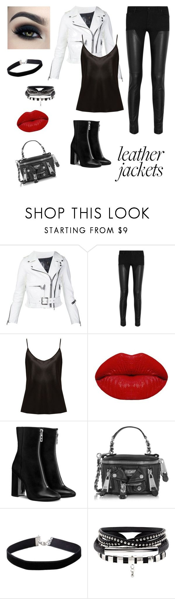"""""""#leather jacket"""" by judith-stephanie-hernandez ❤ liked on Polyvore featuring R13, Givenchy, La Perla, Winky Lux, Moschino, Miss Selfridge and Too Faced Cosmetics"""