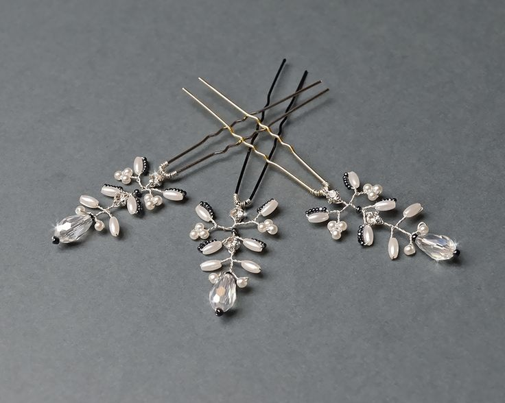 Bridal hair pin with faceted glass beads via Artual jewelry. Click on the image to see more!