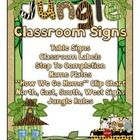 Jungle theme table signs and classroom labels.  56 classroom labels with a jungle theme.   Included are 8 different jungle theme table signs includ...