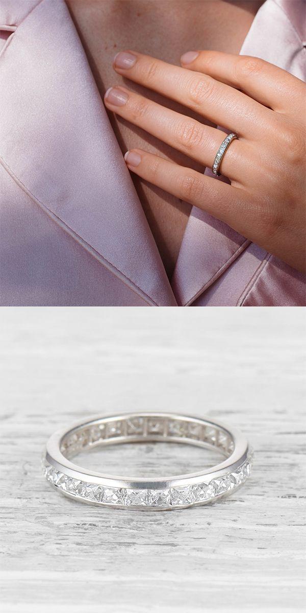 5a202b8681e41 Art Deco Vintage Tiffany & Co. Wedding Band with French Cut Diamonds ...