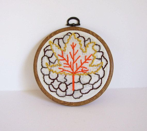 Swedish Autumn Maple leaf Handmade hoop embroidery by