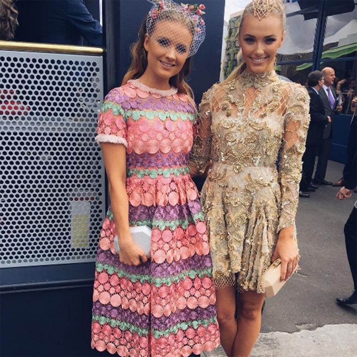 Olga Berg X Laura Henshaw wearing the 'SIA' Metallic Octagon Pod  at Melbourne Cup Day 2016 #olgaberg #springracing #MelbourneCup