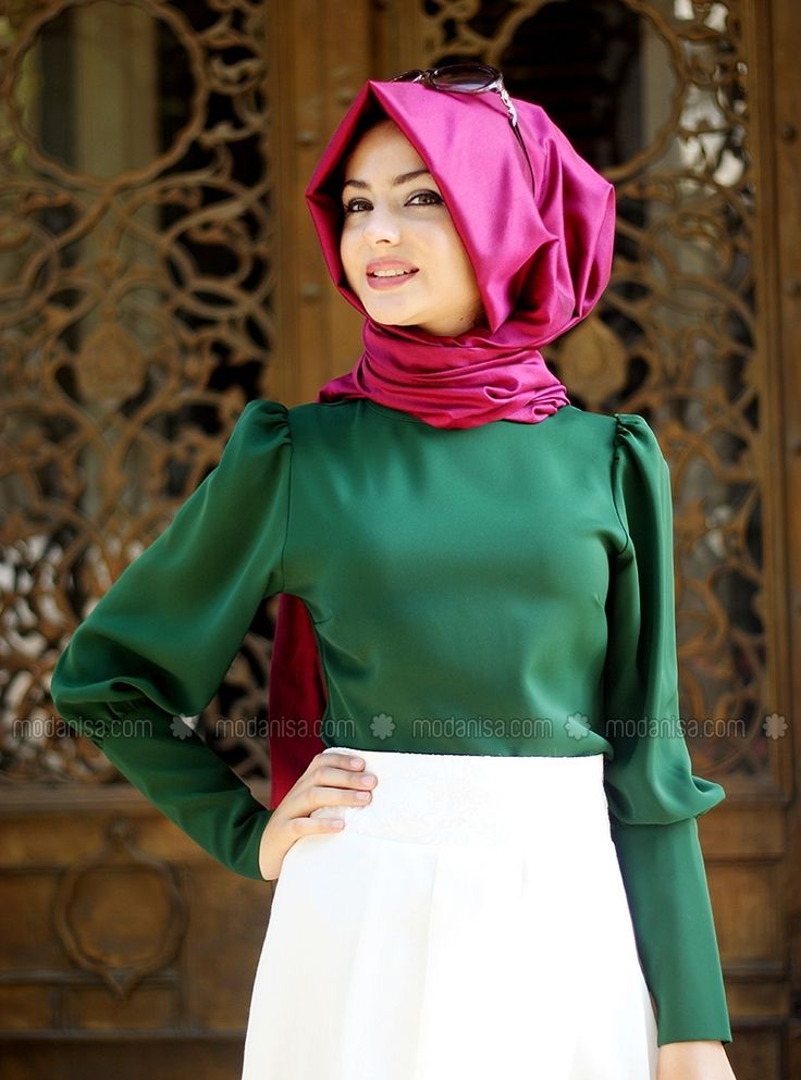 Düz Hakim Yaka Bluz - Yeşil - Pınar Şems