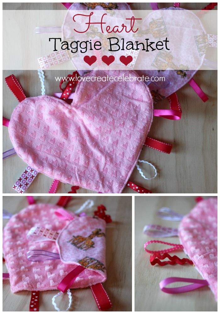 So I'm paying it forward, and making these homemade heart taggie blankets as my first of many homemade gifts for other little ones.