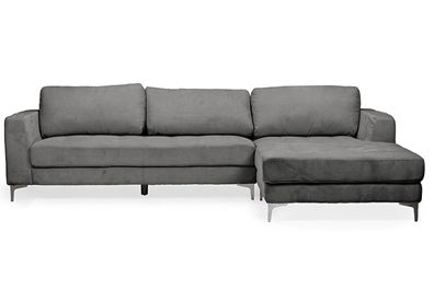 Baxton Studio Agnew Contemporary Grey Bonded Leather Right Facing Sectional Sofa | Affordable Modern Furniture in Chicago.