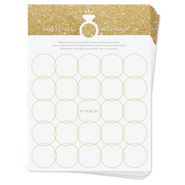 Inklings Paperie presents this sweet take on a classic bridal shower game with this set of 12 faux gold glitter bridal bingo cards. Guests simply write down the gifts they think the bride-to-be will receive, and cross them off as they are opened. Five in a row wins!