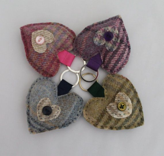 Tweed Fabric Keyring Hand Sewn Heart in Green by DaisyBelleShop