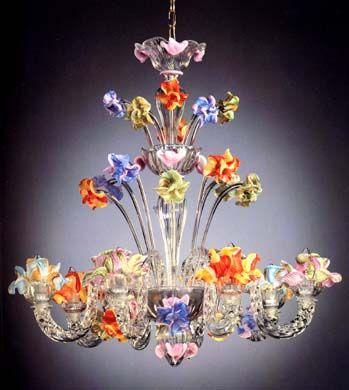 Gardenia Aurea chandelier in Murano glass by La Fondazione. unique piece.