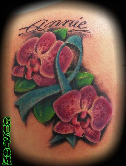 Orchid cancer ribbon tattoo by Jackie Rabbit | Flickr - Photo Sharing!