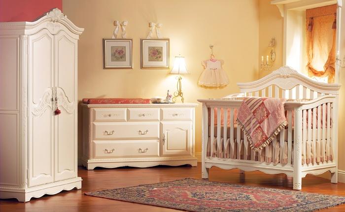 Munire Nursery Set   Savannah Lifetime Crib And Double Dresser In Linen  White