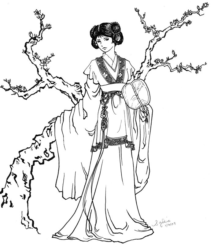 free japanese art coloring pages - photo#17