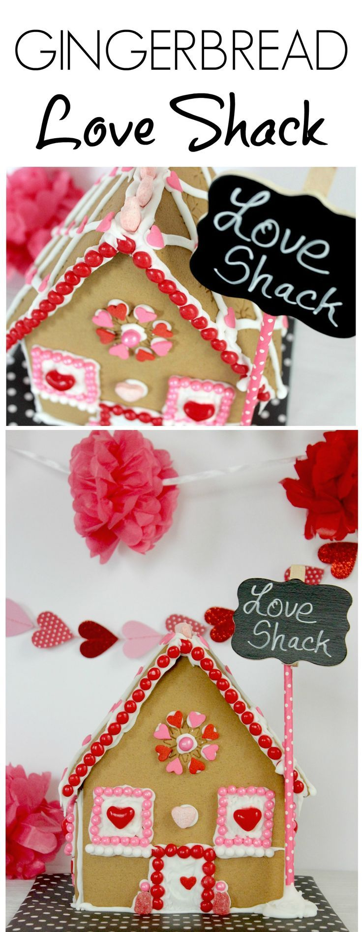 Valentine's Day Gingerbread Love Shack. Cute idea! Save your gingerbread house kit for Valentine's Day!