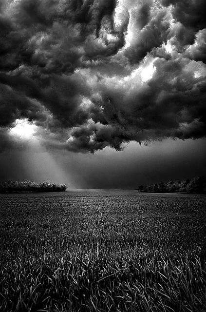 Skies of Anger, sunbeam, field, clouds,   breathtaking, Mother Nature, panorama, photo b/w.