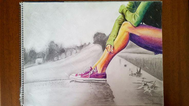 """""""Rain"""", 30×40 cm, graphite amd colored pencils on paper."""